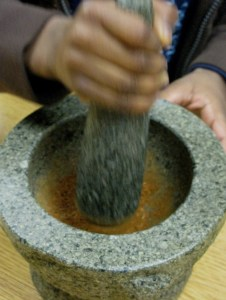 Kids love using the mortar and pestle