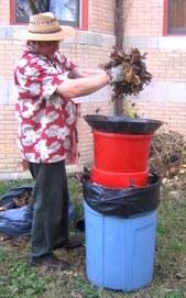 Shredding leaves for compost