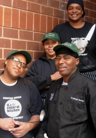 Kitchen crew at Washington Jesuit Academy. Left, Derek Nelson; right, Eraleigh Green; middle, Makeisha Day; top, Duane Drake