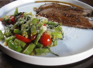 Our latest favorite green bean dish with sirloin tip roast