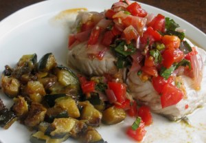Steamed sea bass with spicy fresh salsa