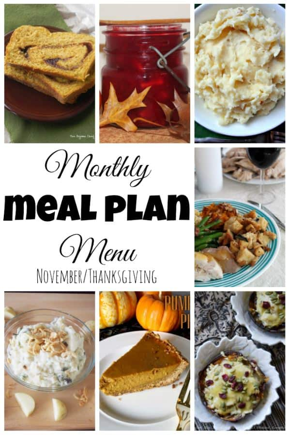 Monthly Meal Plan November The Spiffy Cookie