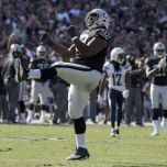 Stacey McGee celebrates Raiders' win (photo, Just Blog Baby)