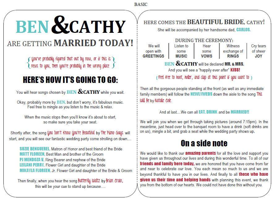 newspaper wedding program template free
