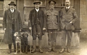 From L - R Mr Cook(family friend) Fred Greed(father) Frank in Uniform poss Mr Souden (Headmaster) outside the Devonshire Arms, Fairfield.