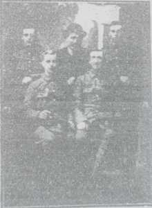 The photograph from The Buxton Advertiser 20th March 1915, shows Lance Coporal Hodder after enlistment with other recruits.
