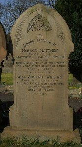 Horaces Gravestone at St Peters, Fairfield