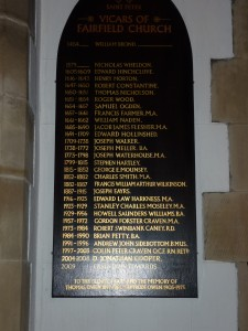 List of the Vicars at St Peters (2014)