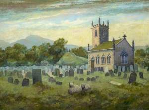 Painting of St Peters Church, painted in 1962 by Harry Kingsley