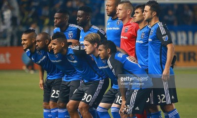 CARSON, CA - MARCH 19: Members of the Starting XI of the San Jose Earthquakes pose for a group photo for their MLS match against the Los Angeles Galaxy at StubHub Center on March 19, 2016 in Carson, California. The Galaxy defeated the Earthquakes 3-1. (Photo by Victor Decolongon/Getty Images)