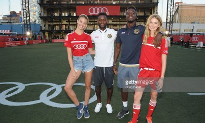 NEW YORK, NY - AUGUST 02: Model Hailey Clauson, Philadelphia Union players Maurice Edu and C.J. Sapong and Icelandic fashion model Sigrun Eva Jonsdottir pose before the Audi Player Index Pick-Up Match at Chelsea Piers on August 2, 2016 in New York City. (Photo by Craig Barritt/Getty Images for Audi)
