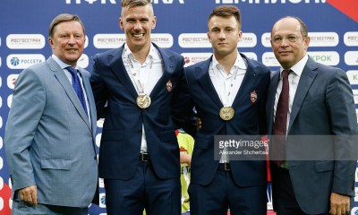MOSCOW, RUSSIA - AUGUST 23, 2016: Russia's presidential special representative for environment and transport Sergei Ivanov, FC CSKA's Pontus Wernbloom and Alexander Golovin, and president of the Russian Football Premier League Sergei Pryadkin (L-R) attend an award ceremony for the 2015/16 Season Russian Football Premier League. Alexander Shcherbak/TASS (Photo by Alexander ShcherbakTASS via Getty Images)