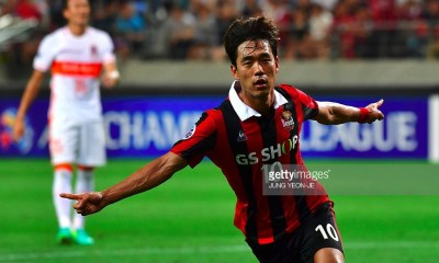 South Korea's FC Seoul forward Park Chu-Young (R) celebrates after scoring against China's Shandong Luneng FC during their quarter-final football match of the AFC Champions League in Seoul on August 24, 2016. / AFP / JUNG YEON-JE (Photo credit should read JUNG YEON-JE/AFP/Getty Images)