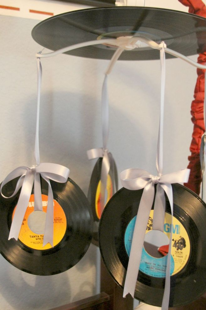 Homemade baby mobile out of records