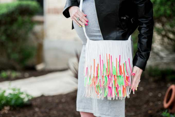 DIY Nail Polish Painted Fringe Handbag