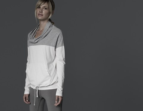 James Perse, Funnel Neck Contrast Pullover, $135.00