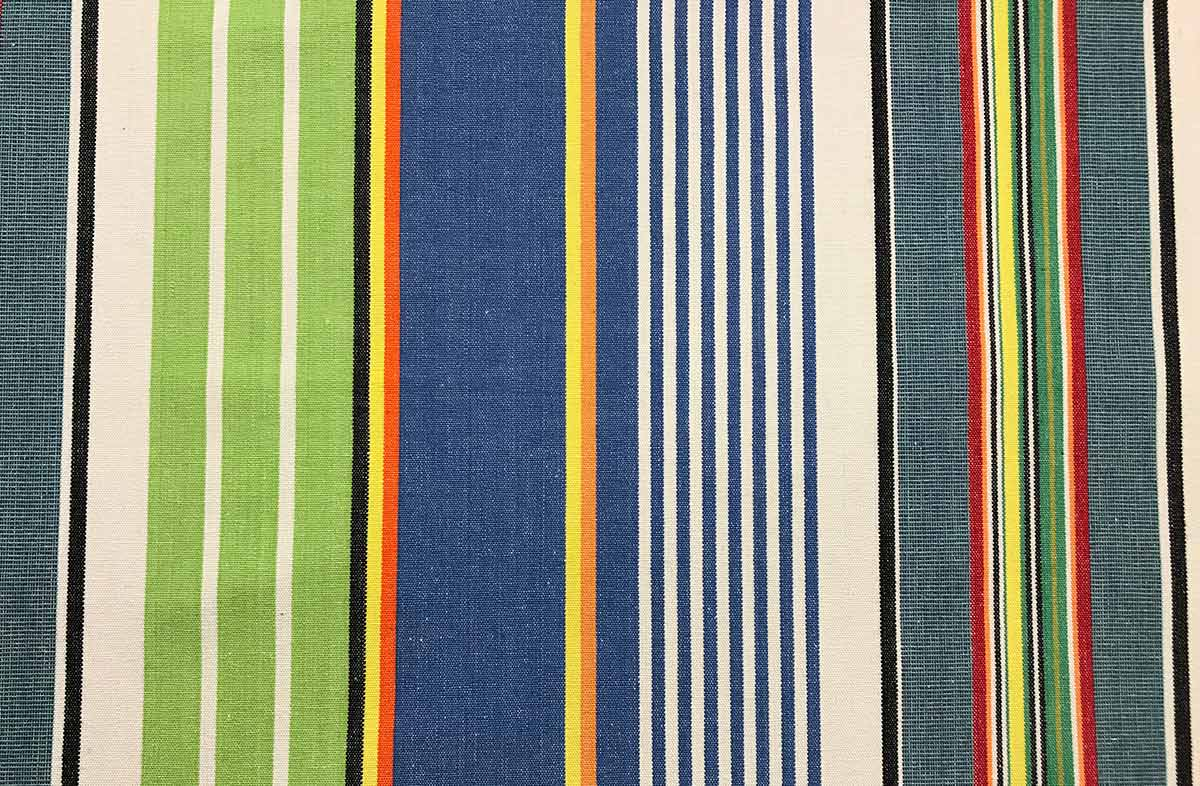 Blue and Green Striped Fabric - Tumbling Stripe The Stripes