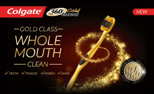 Colgate 360 Charcoal Gold toothbrush good mornings into gold mornings