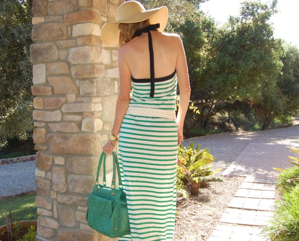 ETSI halterneck striped dress