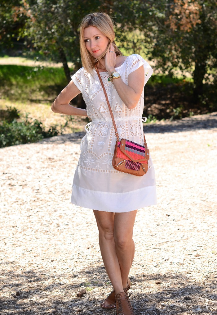 Golden Tote White Eyelet Dress