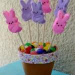 DIY Easter Peeps & Jelly Beans Flower Pot Centerpiece Craft