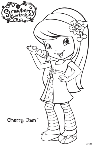 Strawberry Shortcake And Cherry Jam Coloring Pages