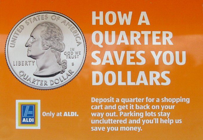 Quarter Saves Dollars Aldi Carts