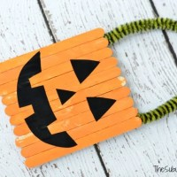 How To Make A Halloween Pumpkin Popsicle Stick Door Hanger Craft