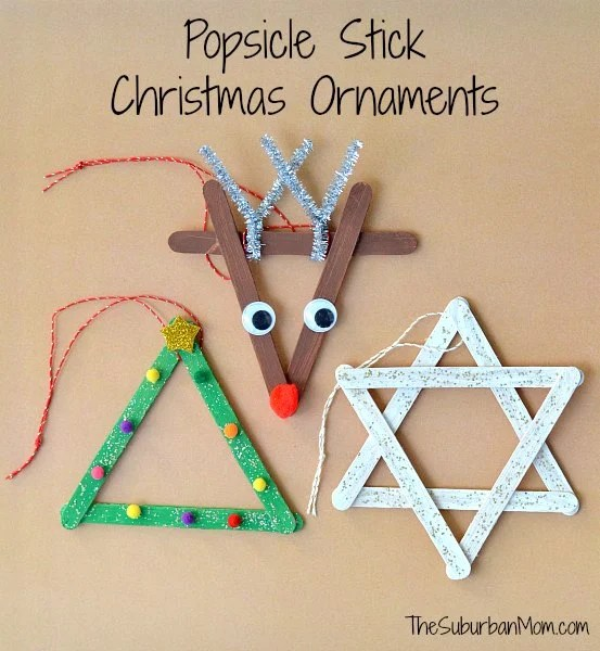 popsicle stick christmas ornaments   kids craft   thesuburbanmom