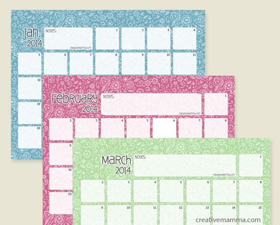 14 Free 2014 Printable Monthly Calendars - TheSuburbanMom