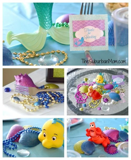 Little mermaid party crafts for Ariel birthday decoration ideas