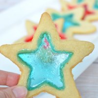 "4th Of July ""Stained Glass"" Red, White & Blue Star Cookies"