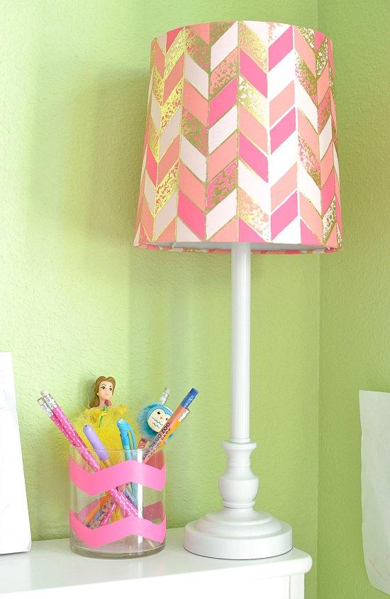 Pink Chevron Lamp Pencil Holder