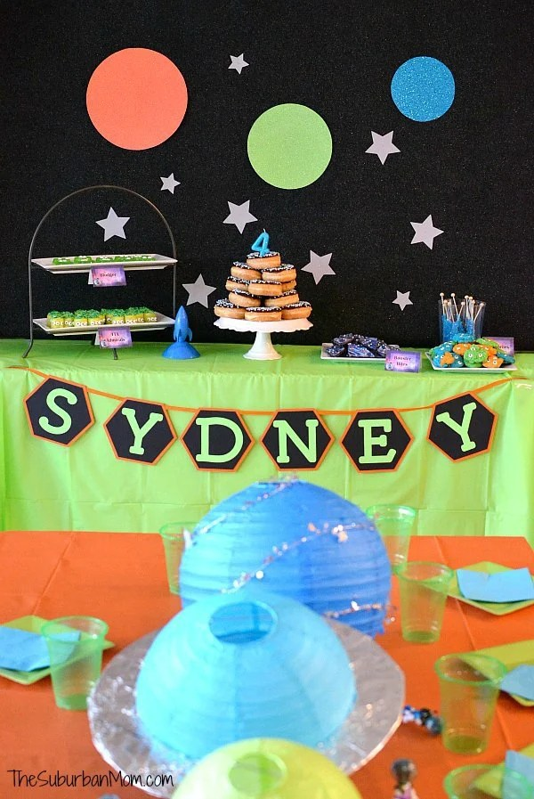 Miles From Tomorrowland Birthday Party Ideas - blue and green birthday party