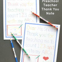 Traceable Preschool Teacher Thank You Note ~ Free Printable