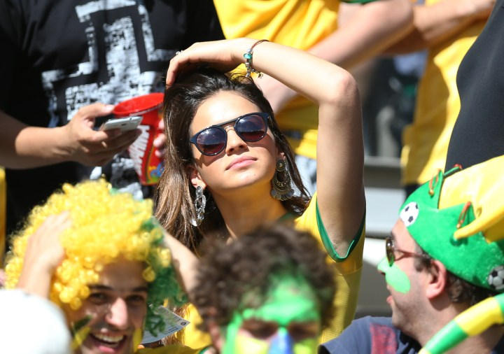 Bruna Maqruezine watches Neymar at the 2014 World Cup in Brazil