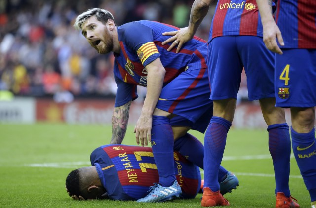 Messi then attended to Neymar who lay stricken on the floor after seemingly being hit by a missile