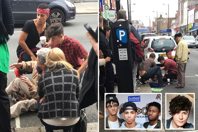 X Factor's Ryan Lawrie and Kieran Alleyne hailed as heroes after helping woman who fell in the street
