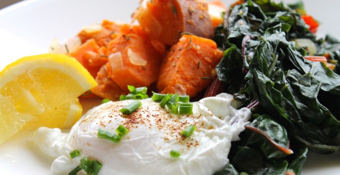 Poached Eggs with Rainbow Chard and Coriander Sweet Potato Hash