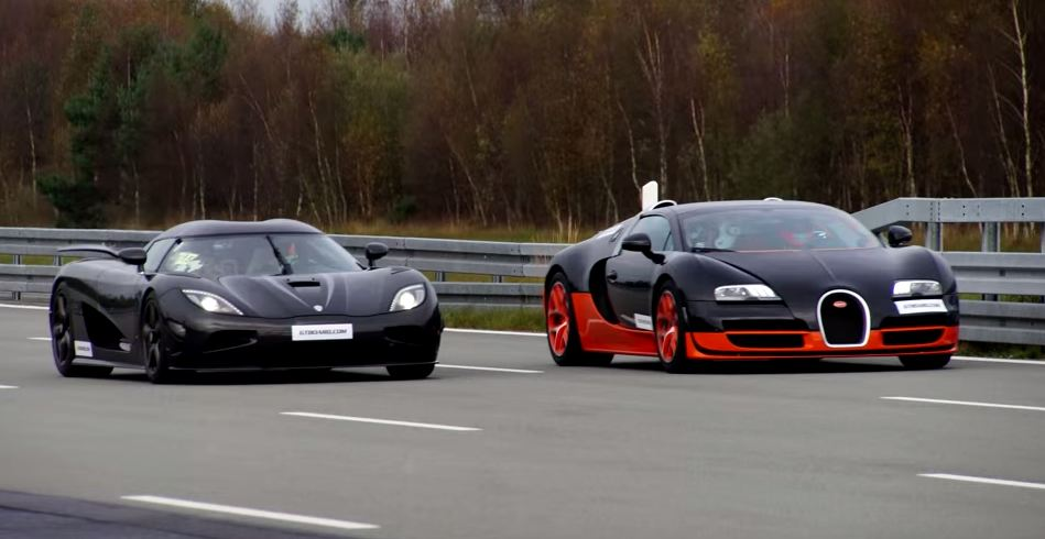 bugatti veyron vs koenigsegg agera r drag race the