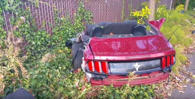 Ford Mustang Crashes; Splits in Half on Impact