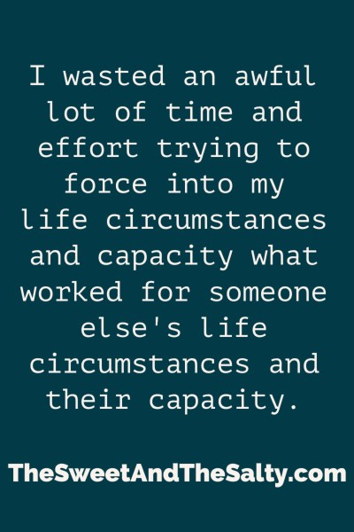 Find the solutions and systems that work for you and your life circumstances and capacity. What works for someone else might not work for you and vice versa, and that's okay. Make the most of YOUR life by finding ways that work for you to get. things. done. and have time for what matters most!