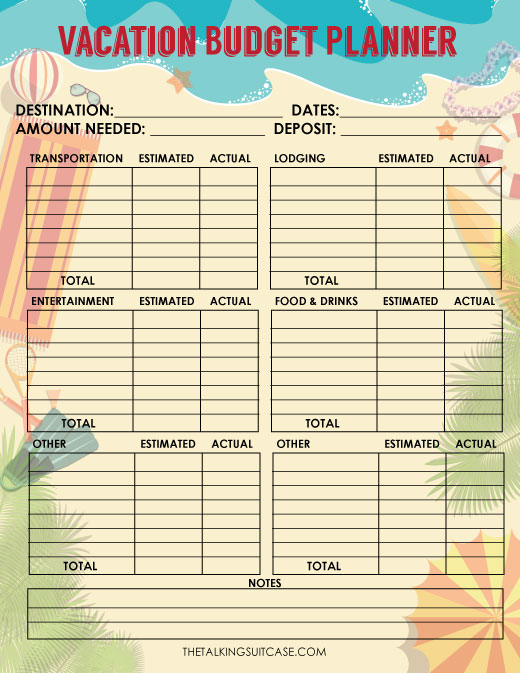 Travel Budget Worksheet - vacation budget spreadsheet