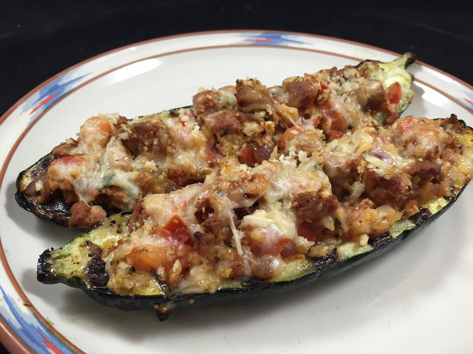 Grilled Italian Turkey Sausage Stuffed Zucchini