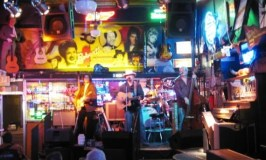 The stage at Robert's Western World--That's Johnny Cash's bass player on the right!