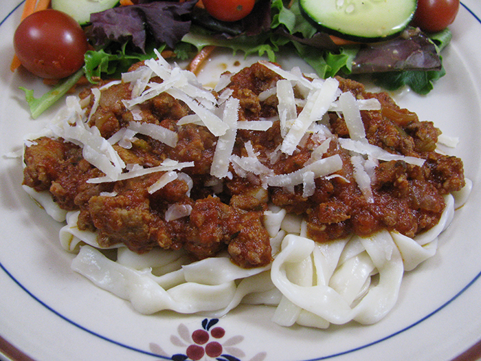 Shirataki Fettuccine with Mom's Meat Sauce