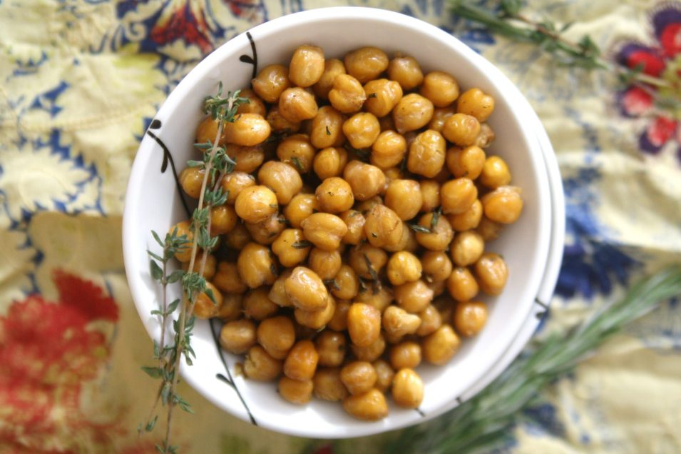 Roasted Chickpeas with Rosemary, Thyme, and Sea Salt