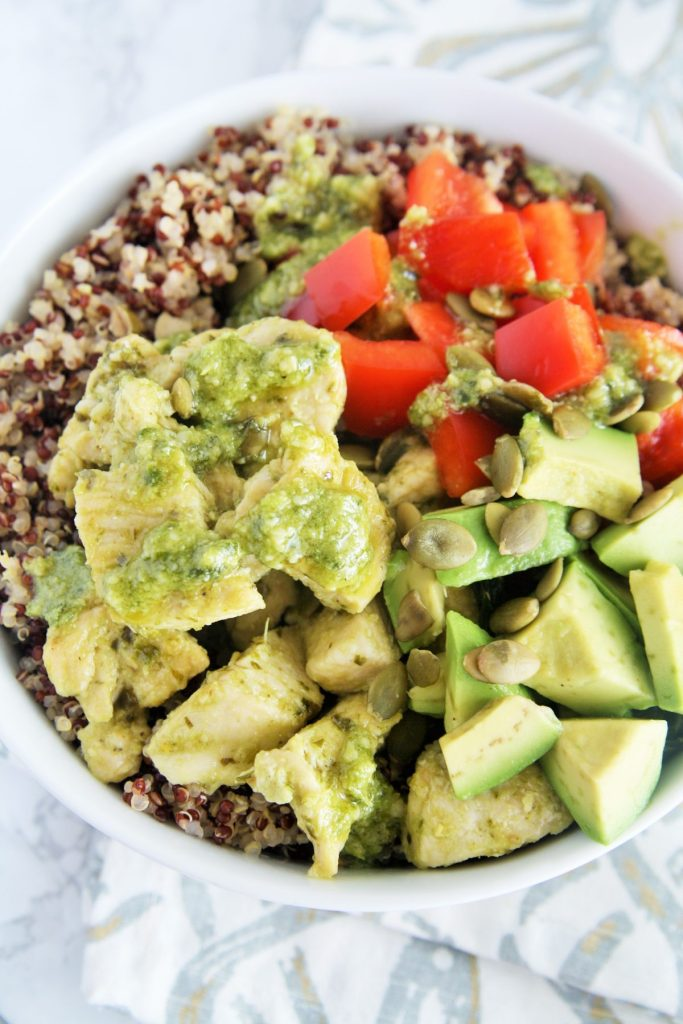 This Pesto Chicken Quinoa Power Bowl is loaded with flavor and perfect ...