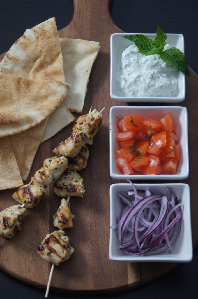 Chicken Souvlaki with a Lemon Oregano Marinade and Tzatziki