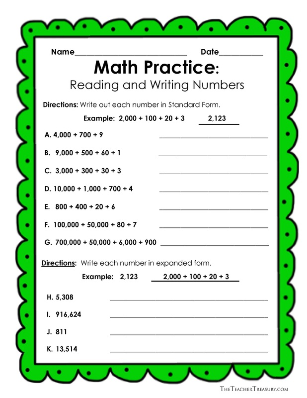 Reading and Writing Numbers in Expanded Form, Standard Form and